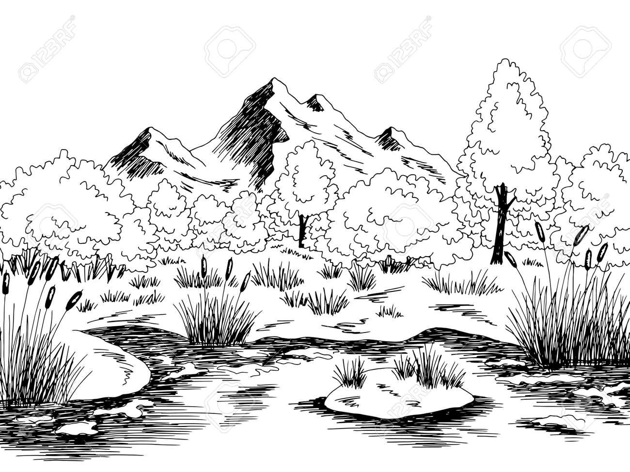 Bog swamp graphic black white landscape sketch illustration vector - 151420032