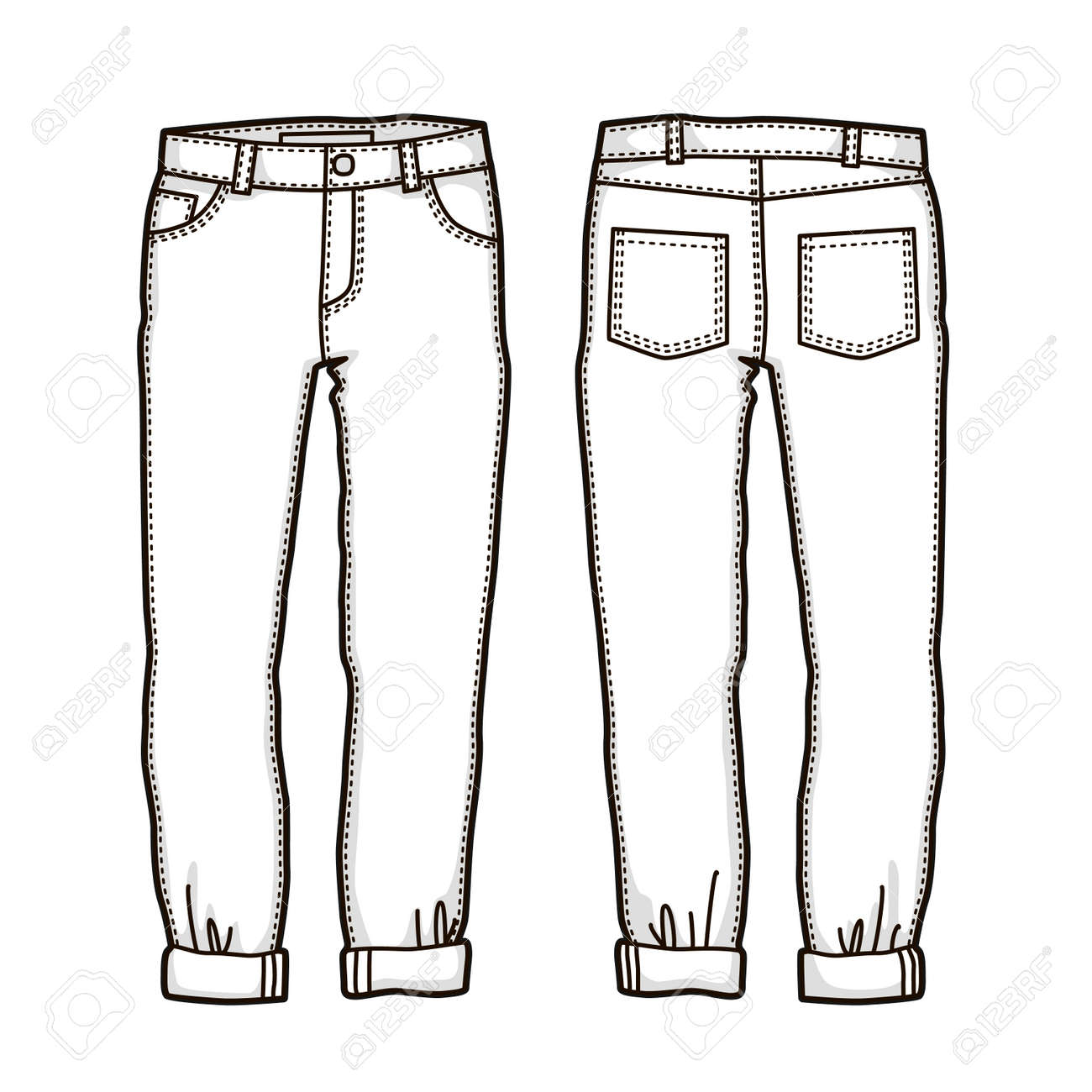 Blank Templates Of Women S Jeans In Front And Back Views Isolated Royalty Free Cliparts Vectors And Stock Illustration Image 97045583