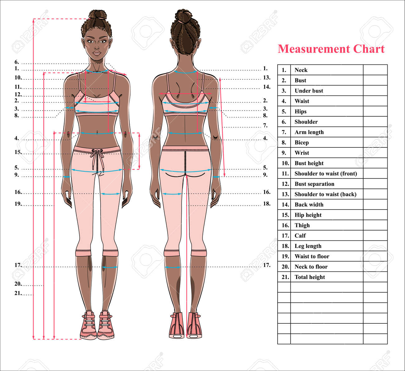 Woman Body Measurement Chart Scheme For Measurement Human Body Royalty Free Cliparts Vectors And Stock Illustration Image 97129692
