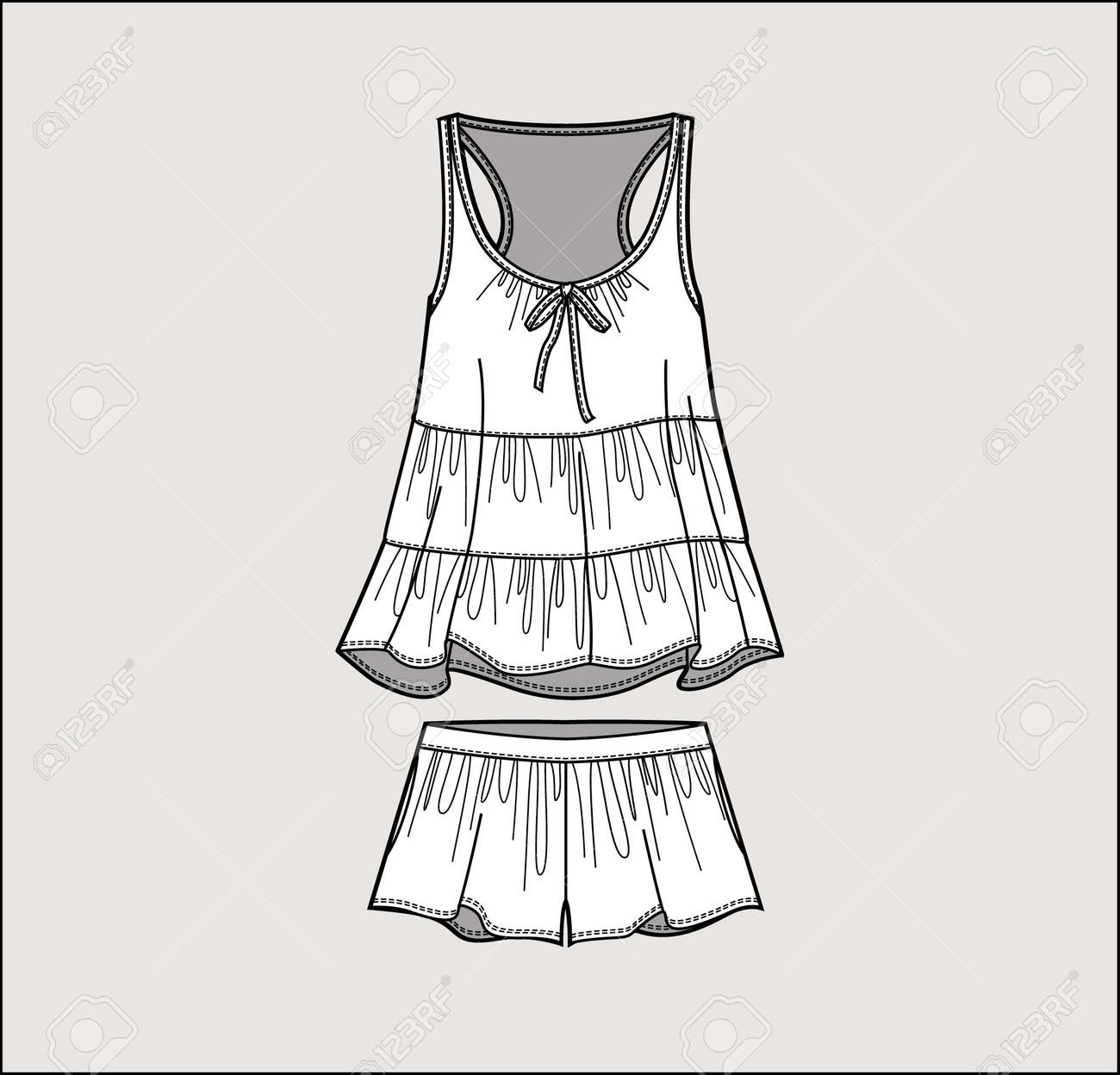 silk pajama set romantic top and shorts isolated vector royalty