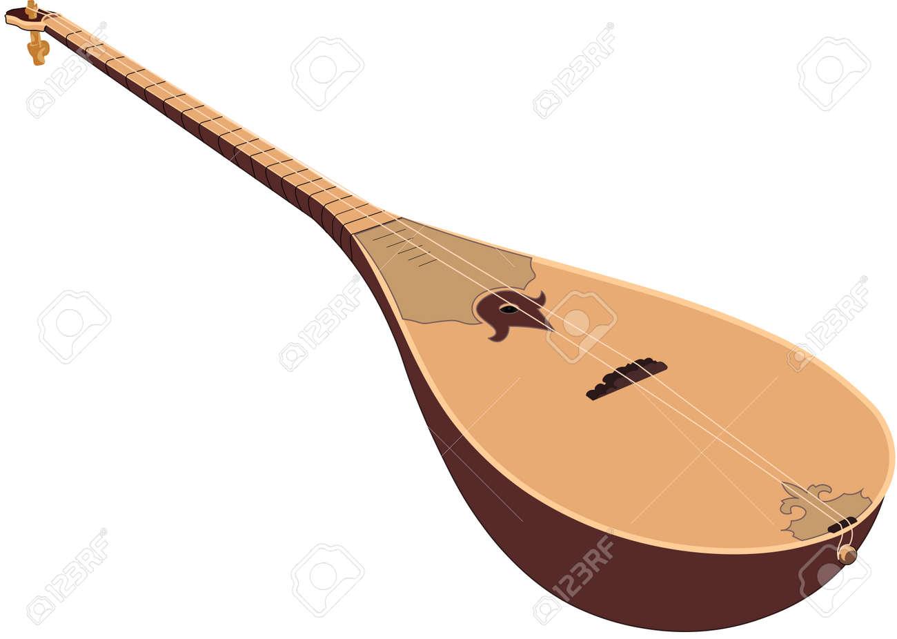 vector illustration design of hand-drawn wooden dombra - 104452247