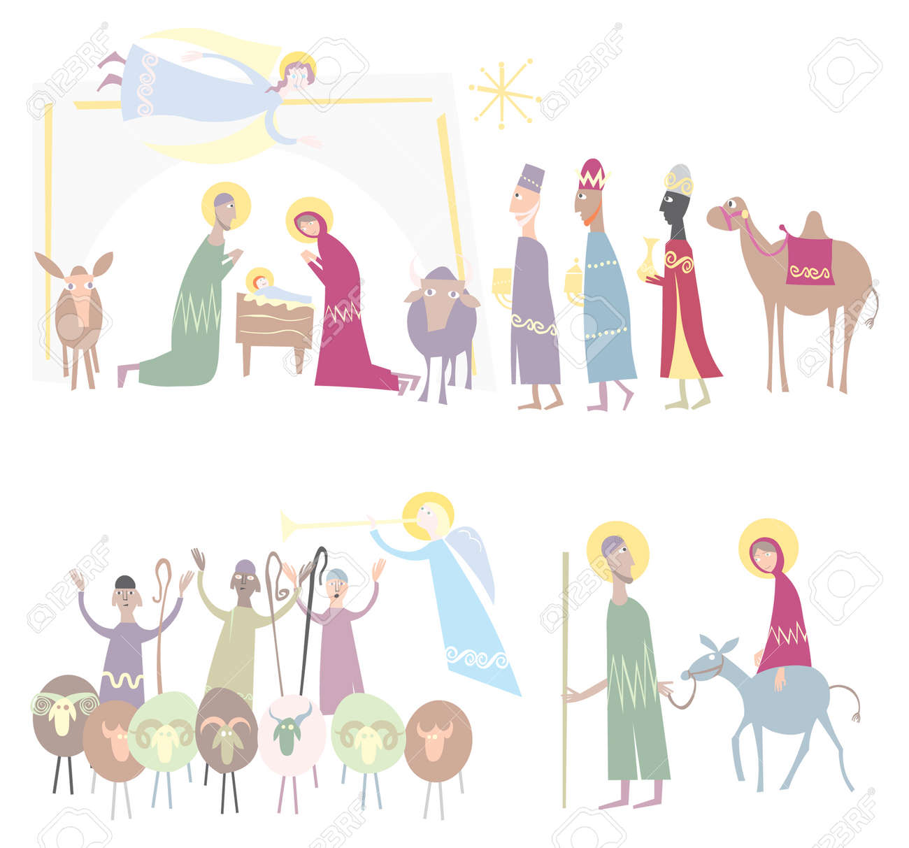 Jesus, Mary And Joseph In The Stable At Christmas Illustration ...