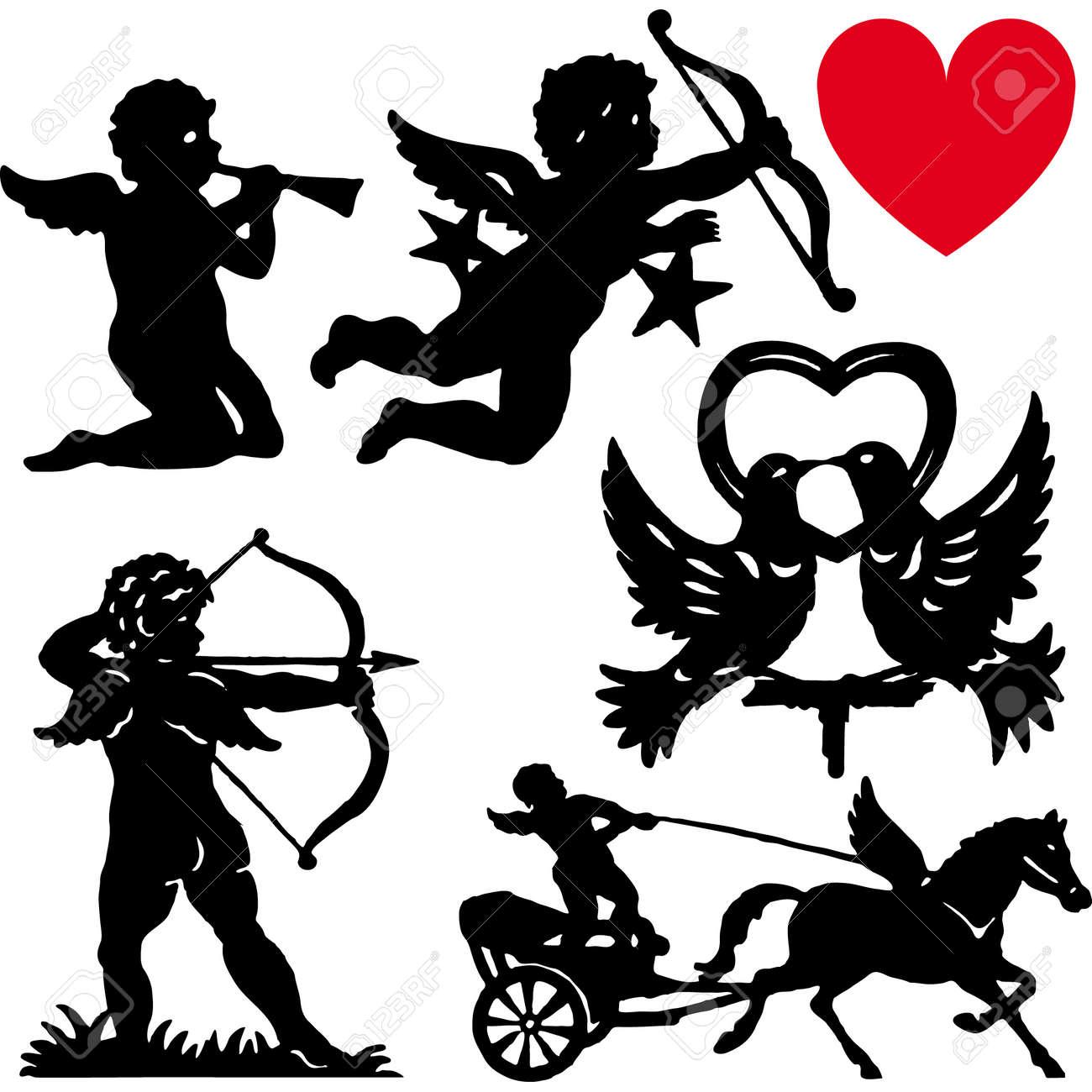 set of silhouette cupid vector illustration valentines day cartoon