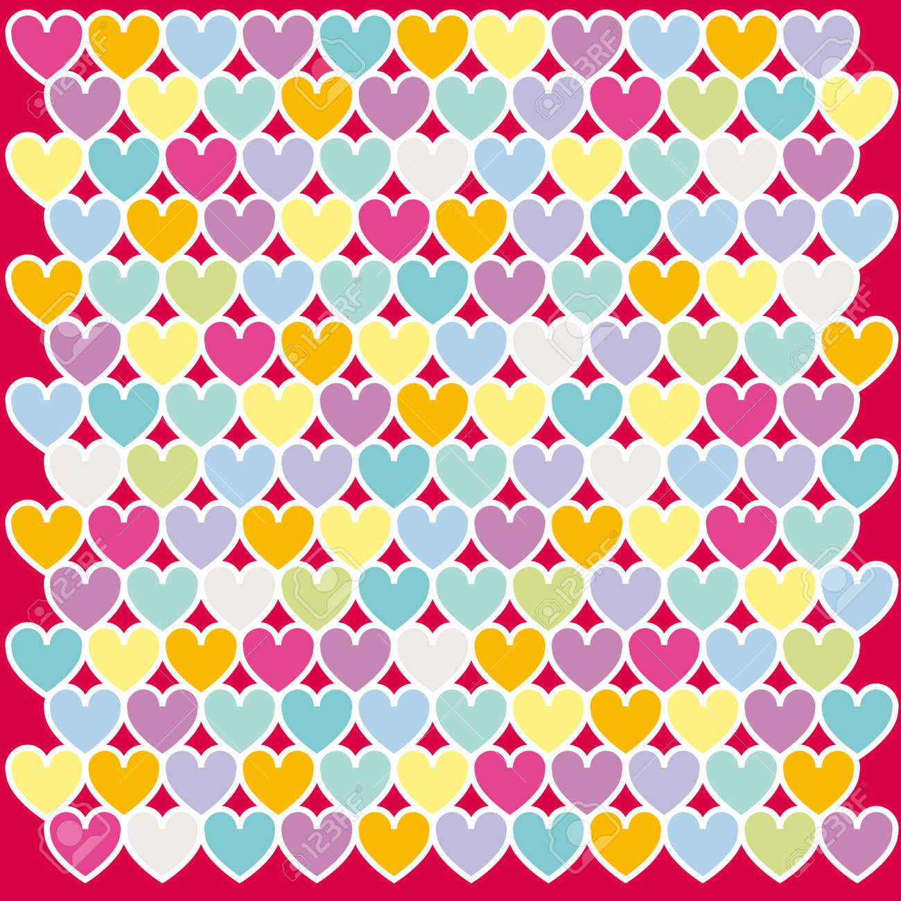 Illustration of colours heart pattern background Stock Vector - 6444877