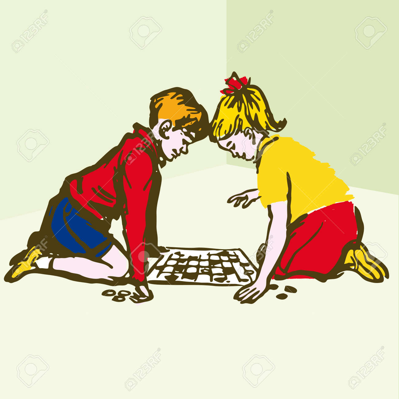 Ninos Jugando Juegos De Mesa Dibujos Animados De La Ilustracion