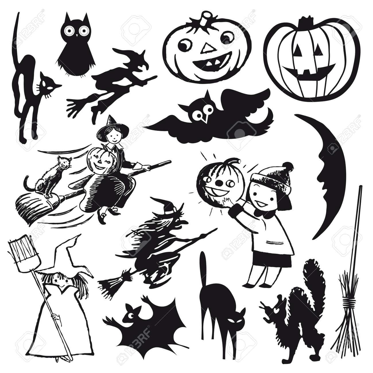 set of illustrations halloween theme cartoon royalty free