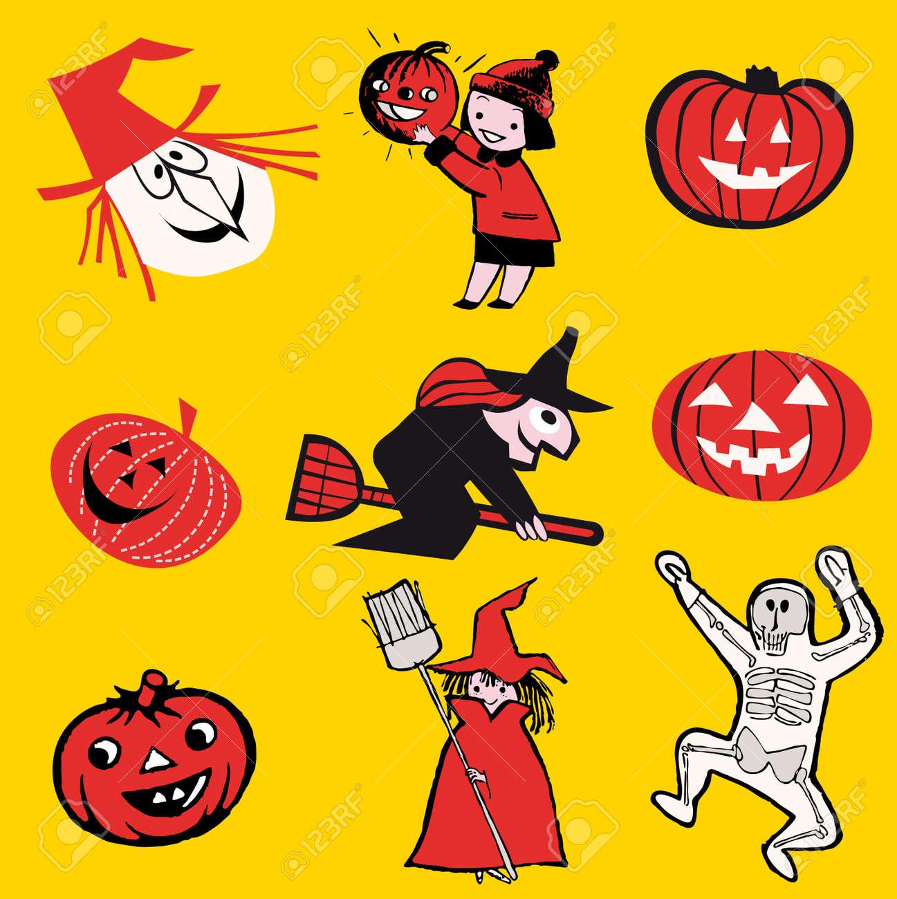 Set Of Illustrations Halloween Theme Cartoon Stock Vector 6475752