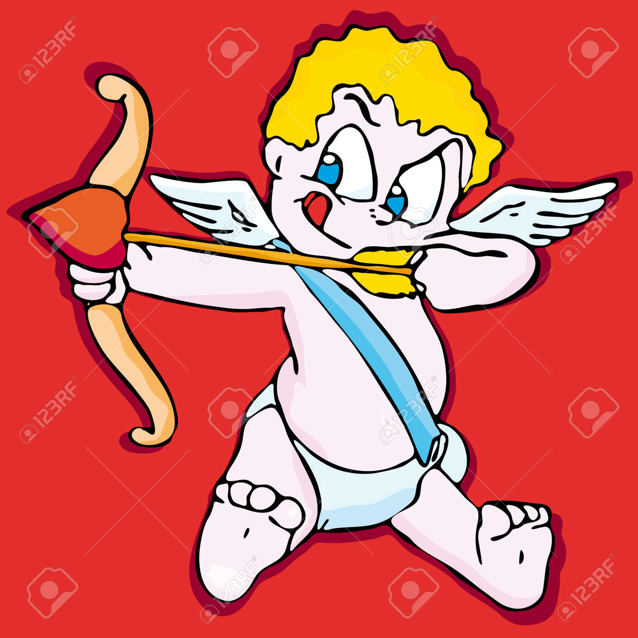 illustration of a valentine u0027s day cupid ready to shoot his arrow