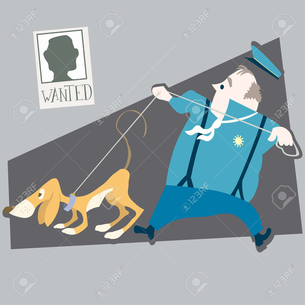 police and dog illustration cartoon Stock Vector - 6616848
