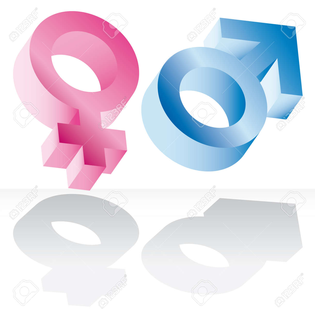 Male and female signs isolated on white background Standard-Bild - 6761800