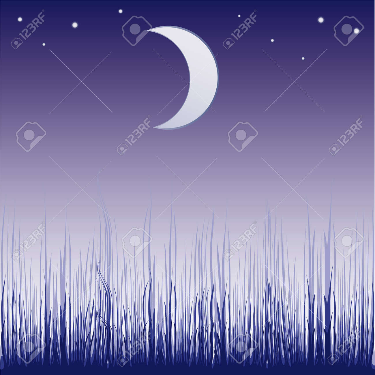 Abstract colorful illustration with dark forest silhouette illuminated by the light of the moon Stock Vector - 6785311