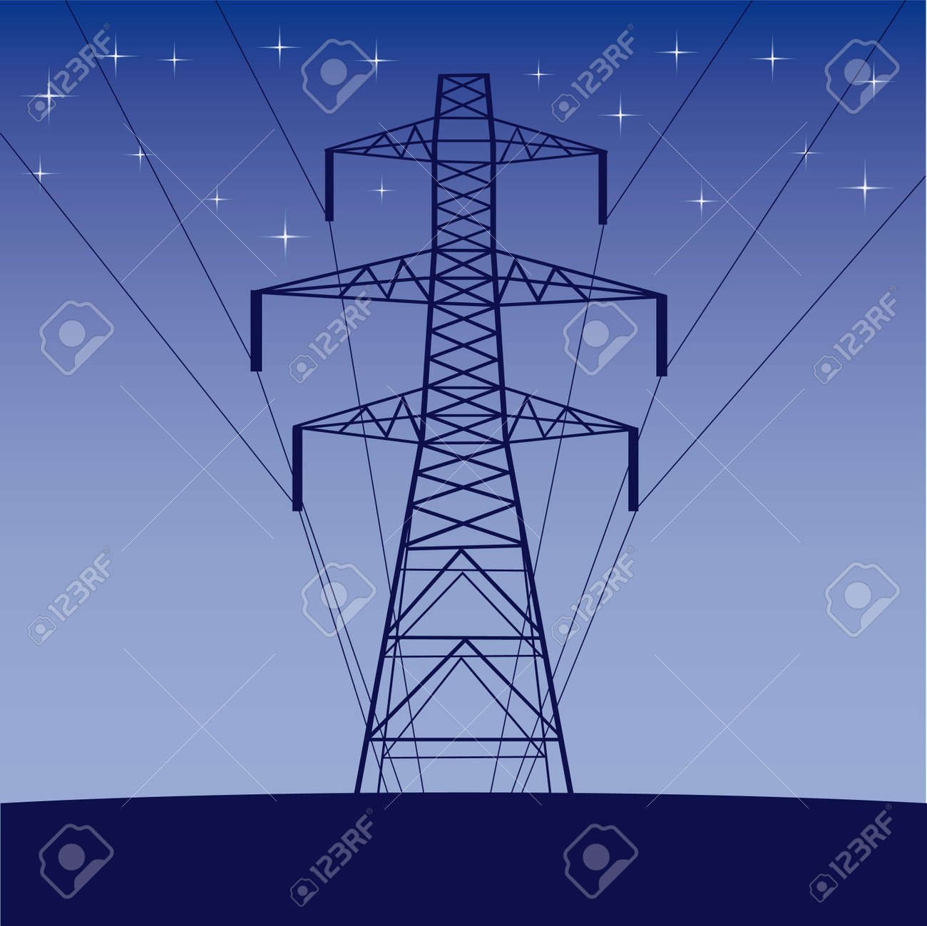 silhouette of high voltage electric line against blue sky - 6854792