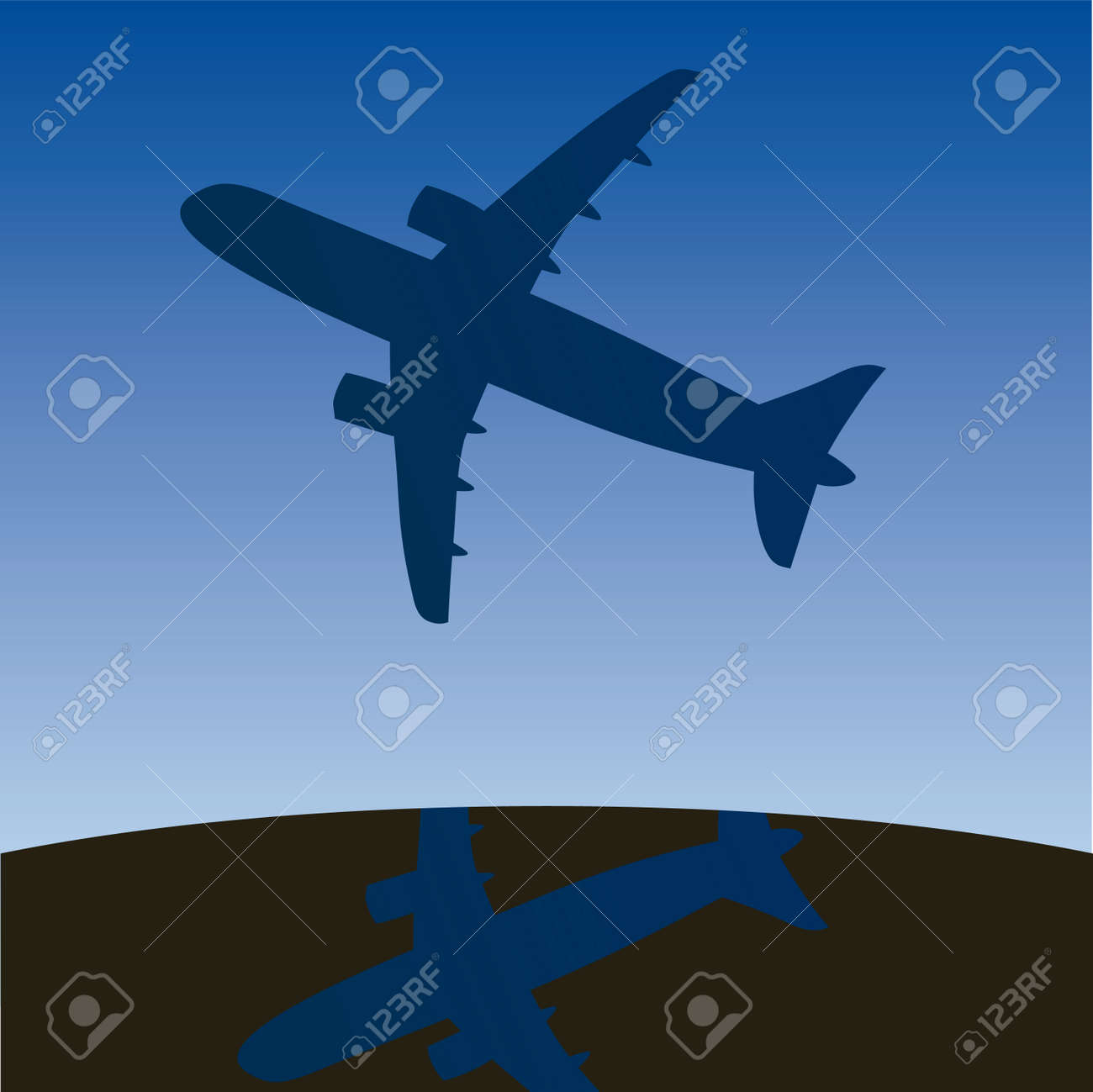 Airplane aero aviation silhouette. cartoon illustration. Stock Vector - 6860213