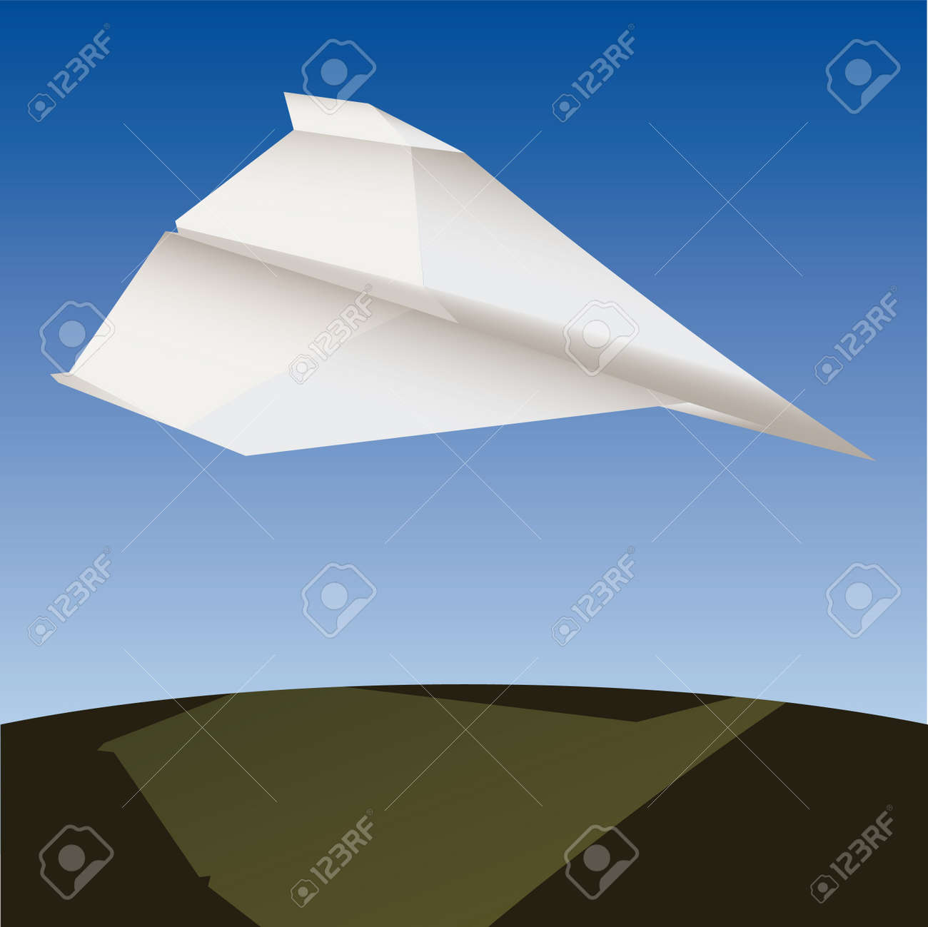 Paper plane in the air  illustration cartoon Stock Vector - 6860219