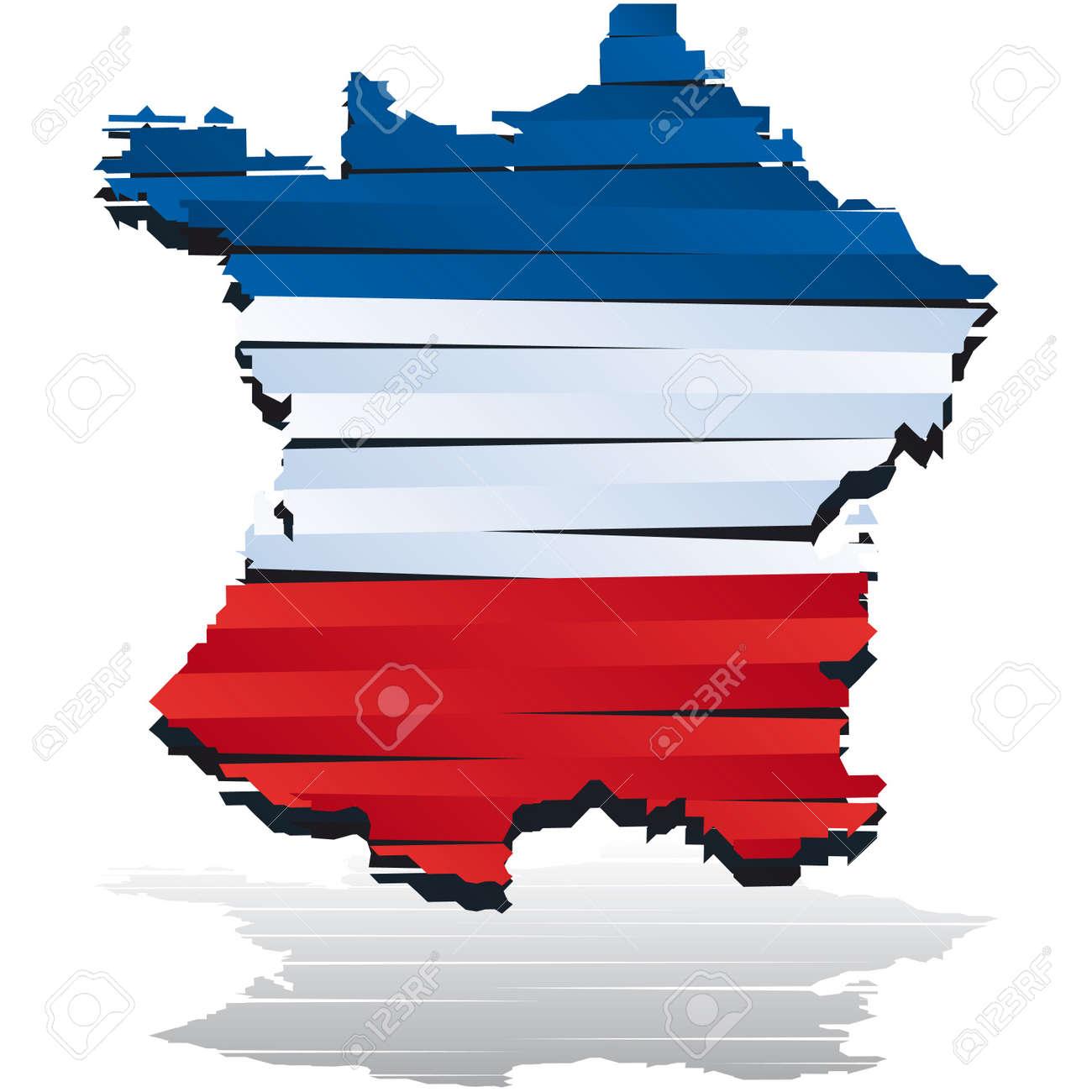 Mapa De Color Abstracta De País De Francia Coloreada Por La Bandera ...