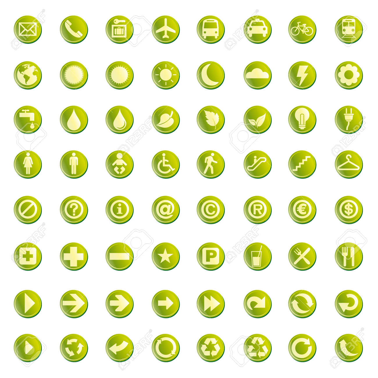 64 set presentation buttons icons symbol web eco. Stock Vector - 7167017
