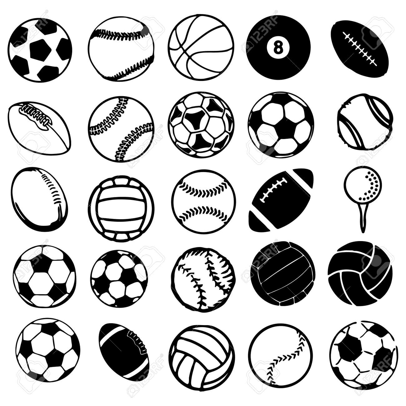 illustration set ball sports icons symbols comic vector illustration - Sports Drawing Pictures