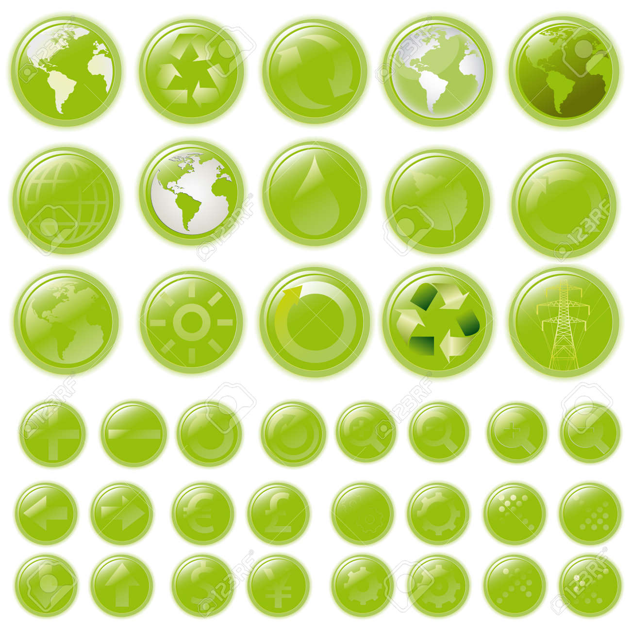 green buttons - aqua-style glossy buttons, blank and with 39 icons Stock Photo - 8716707