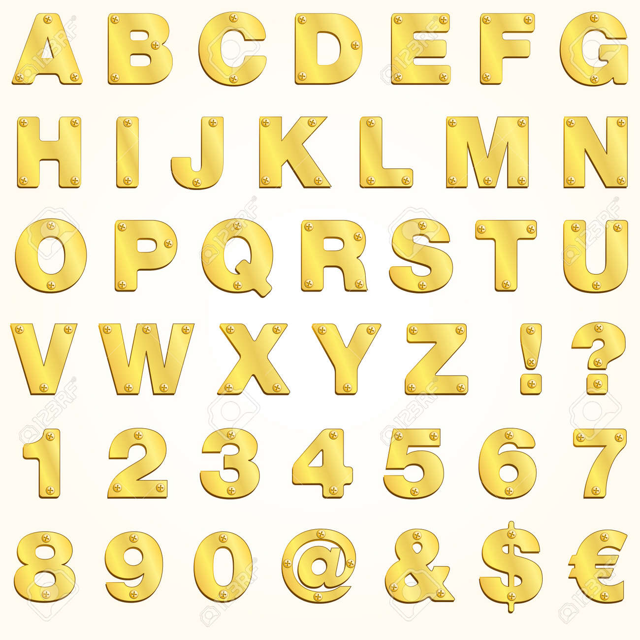 alphabet golden gold letter vector metal singboard stock vector 9720301