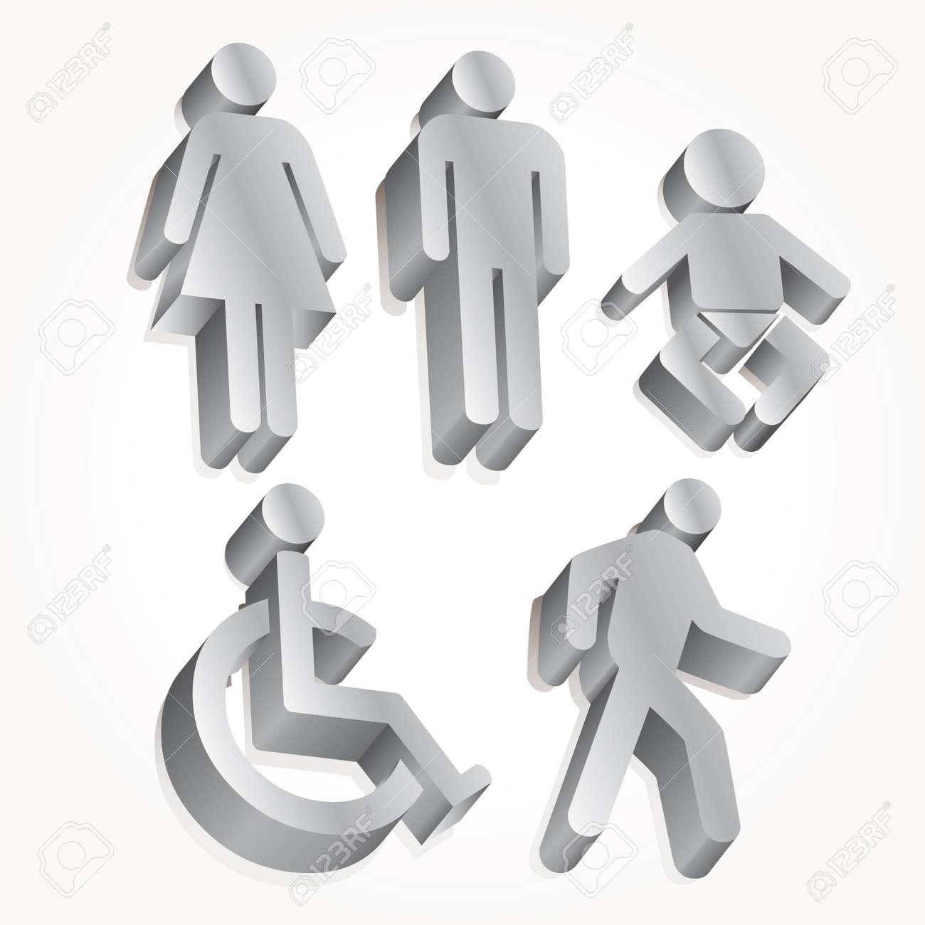 Set icon 3d man, woman, baby... Stock Vector - 10562906