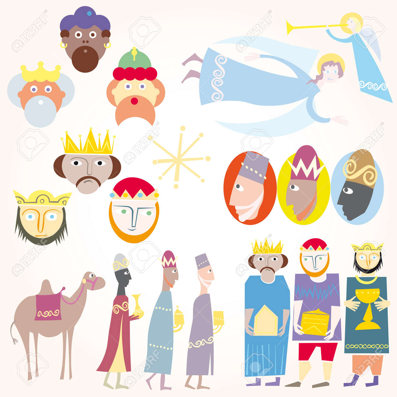 Three Wise Men Christmas Set. Royalty Free Cliparts, Vectors, And ...