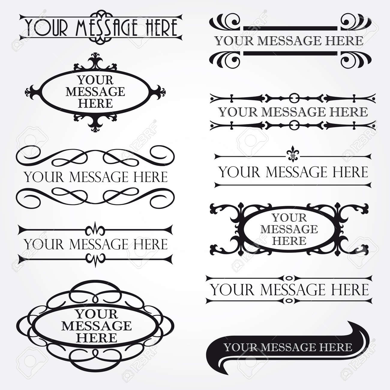 Set of ornate vector frames and ornaments Stock Vector - 11578776