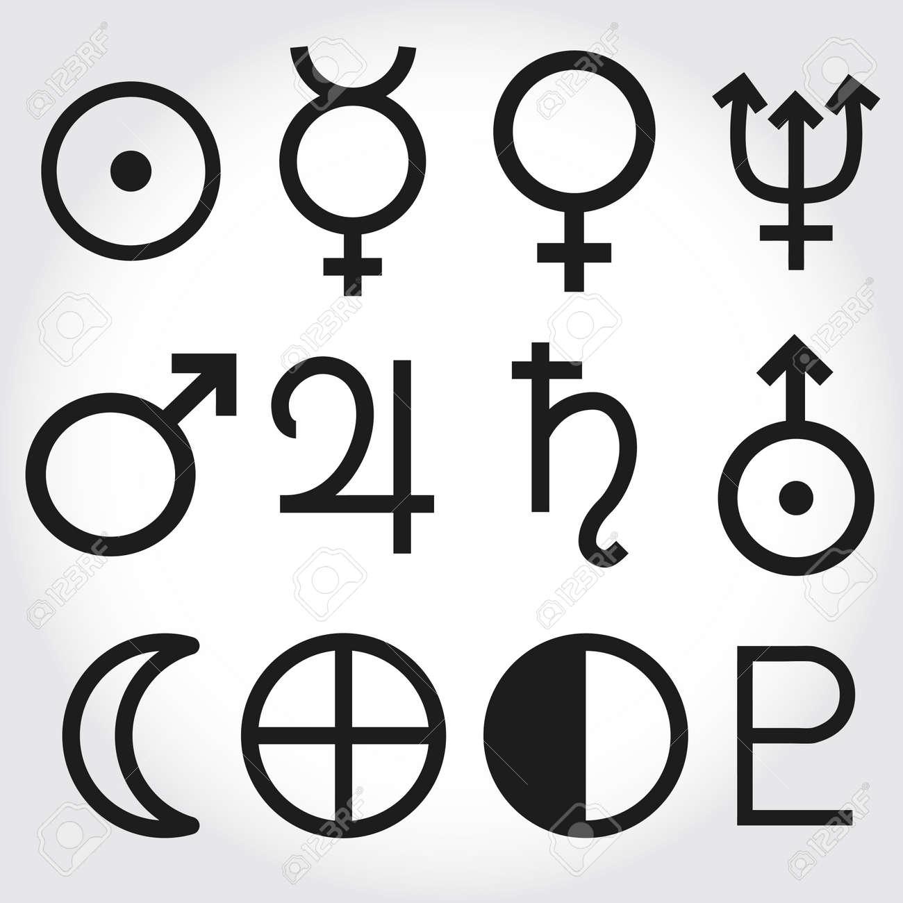 Gut bekannt Symboles Du Zodiaque Et L'astrologie Des Planètes Clip Art Libres  PW99