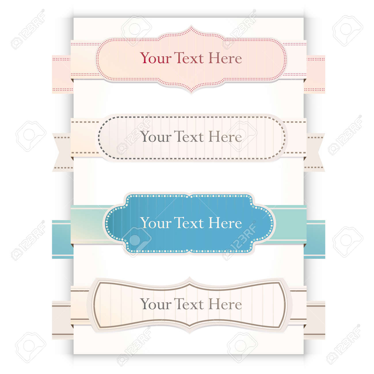 Set of retro ribbons and labels. Stock Vector - 14774554