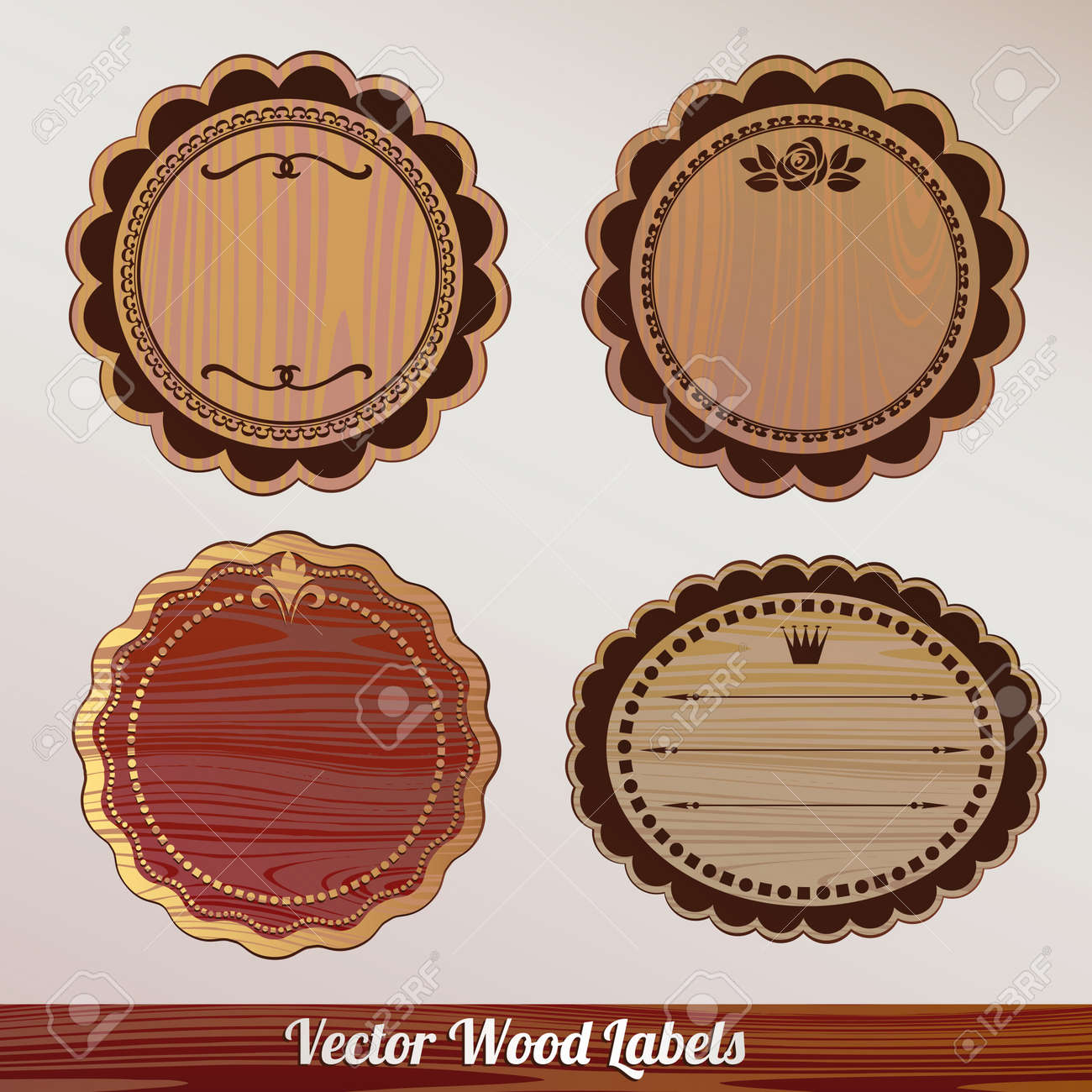 Vector wooden label Set ornamental vintage Stock Vector - 14981481