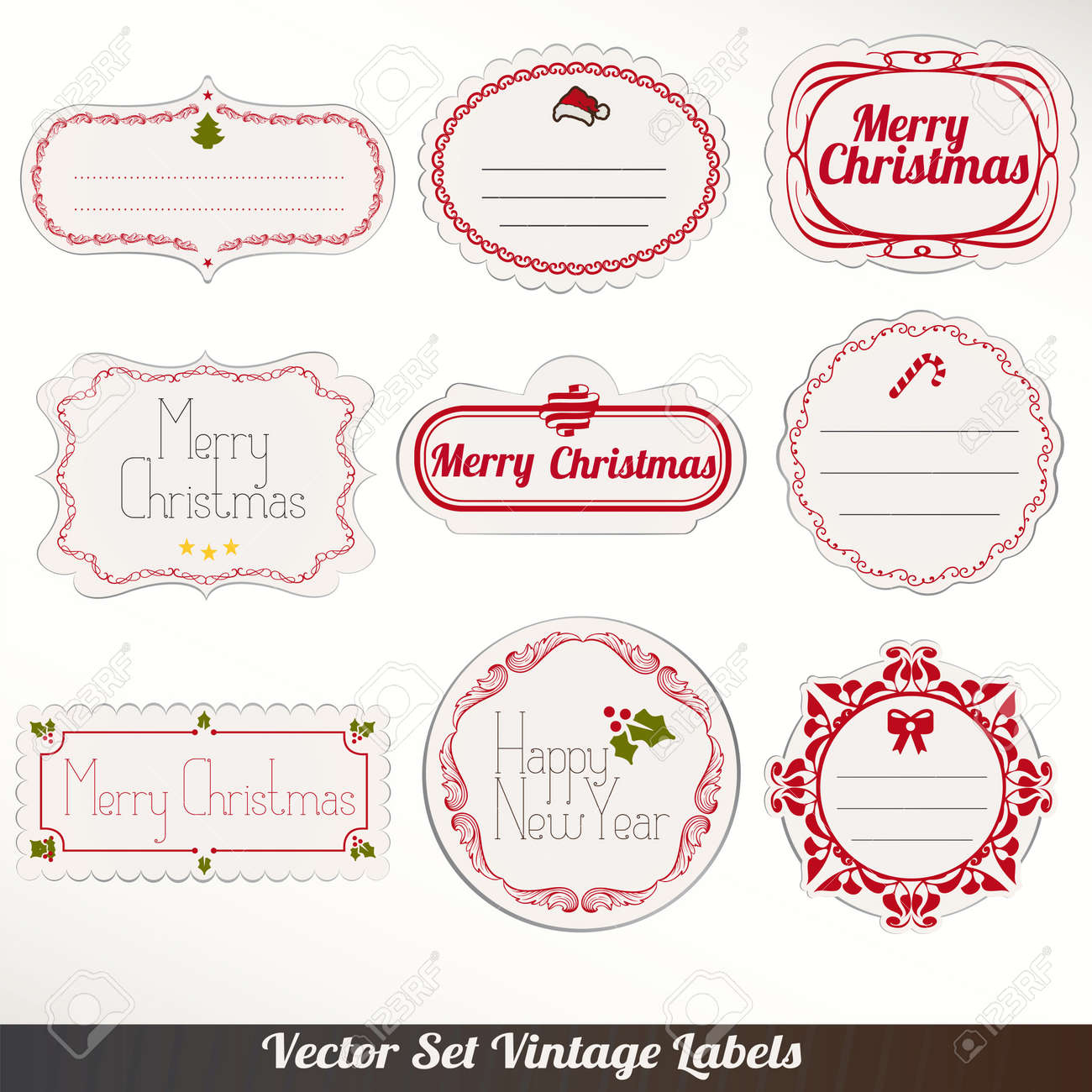 set of vector christmas ribbons old dirty paper textures and vintage new year labels