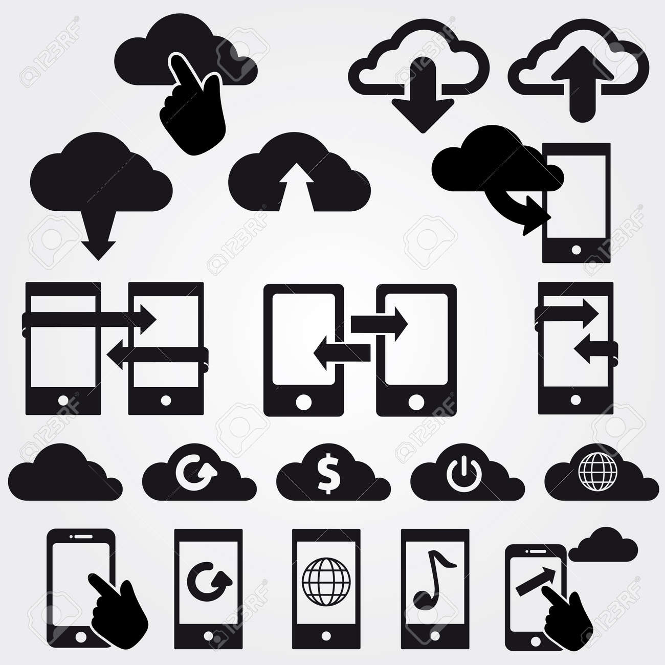 cloud app icon on mobile phone set icons vector Stock Vector - 19424971