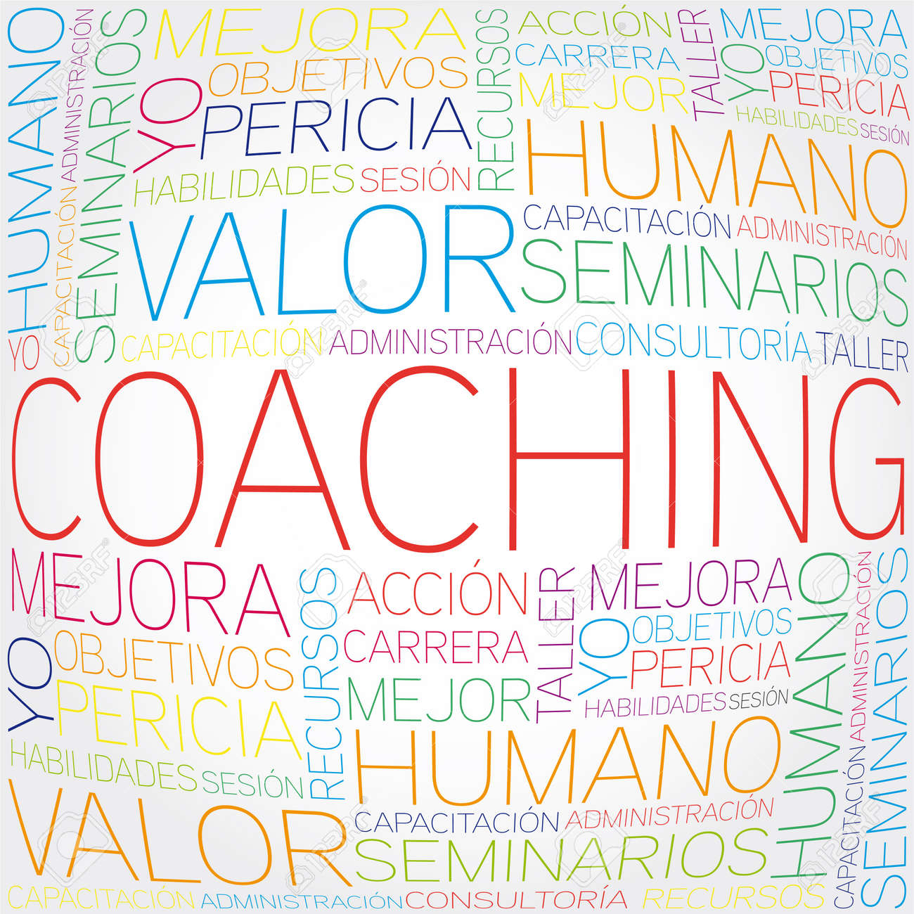 Coaching concept related spanish words in tag cloud Stock Vector - 20234050