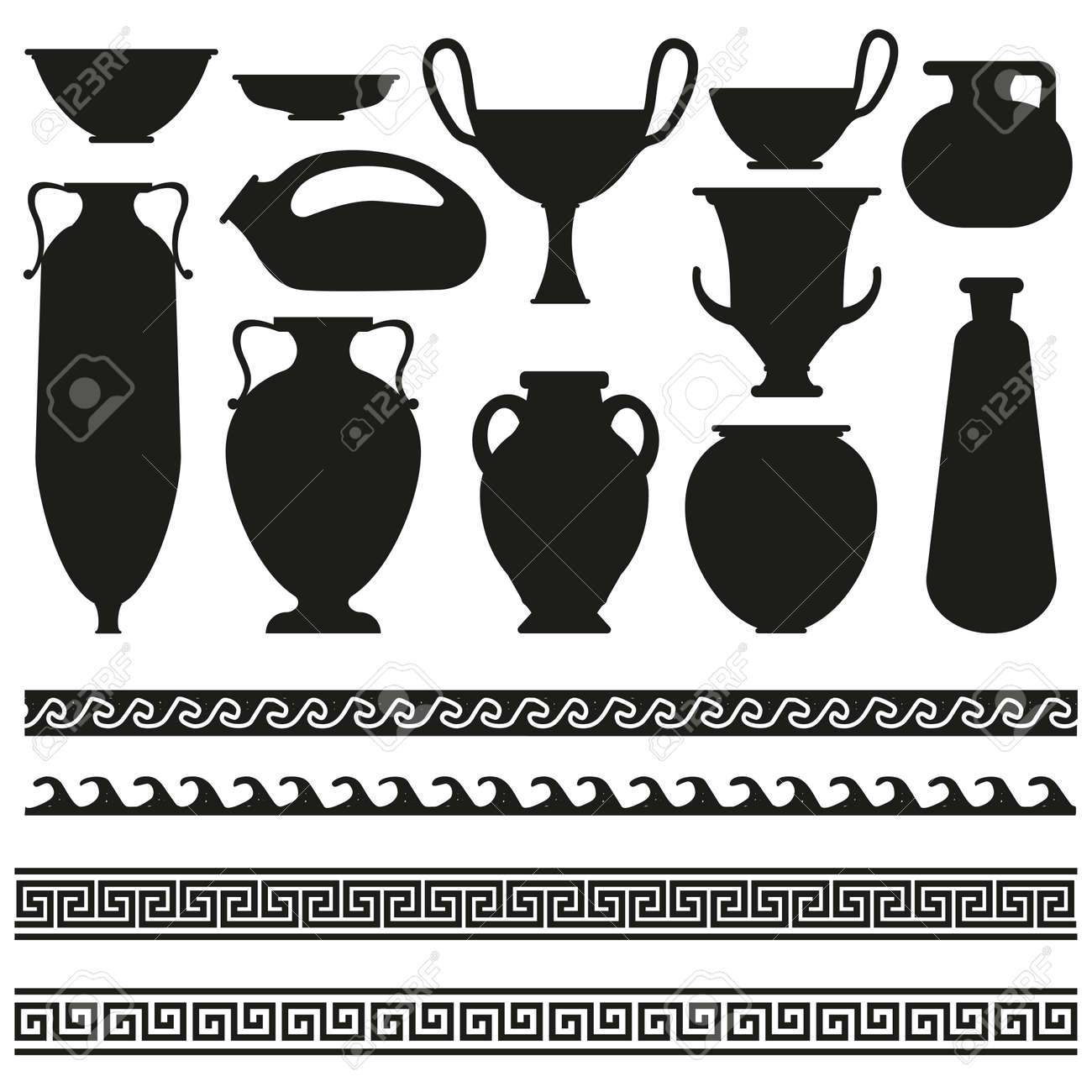 Ancient greek vase with geometric ornament for your designs ancient greek vase with geometric ornament for your designs stock vector 43607367 reviewsmspy