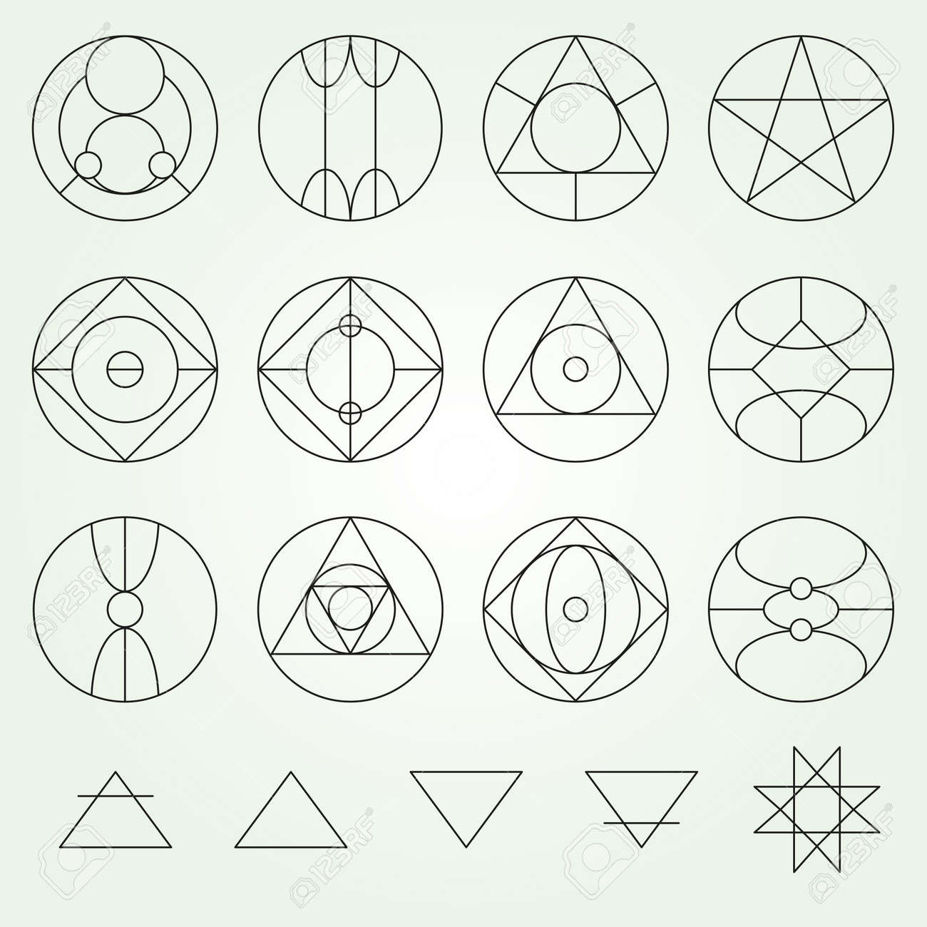 Alchemy Symbols Collection Set Thin Line Variable Line Stock