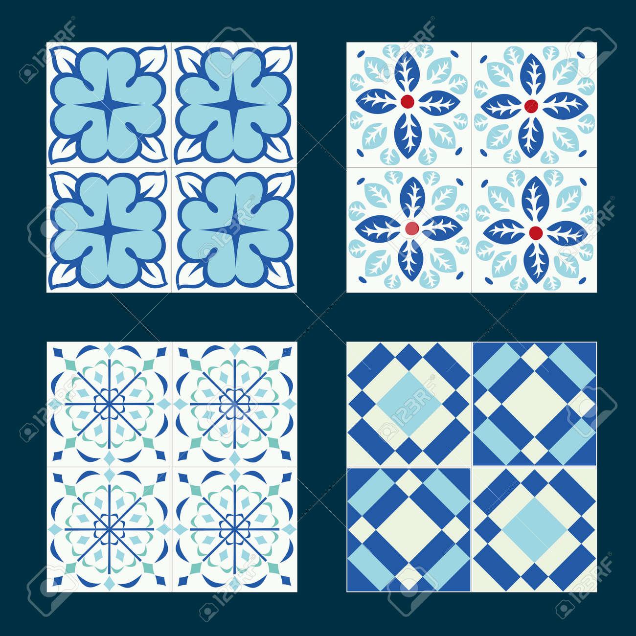 Set Of Vintage Ceramic Tiles In Tile Design With Blue Patterns ...