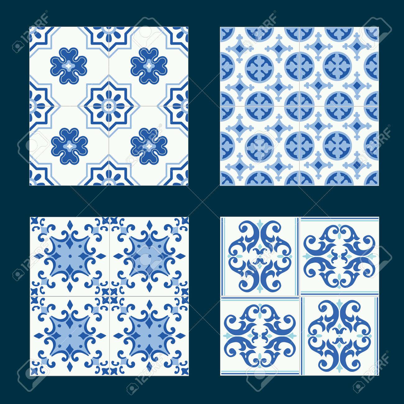set of vintage ceramic tiles in tile design with blue patterns