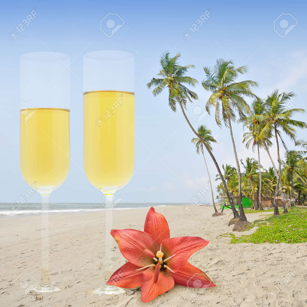 Honey moon with champagne in the paradise. Stock Photo - 10411927