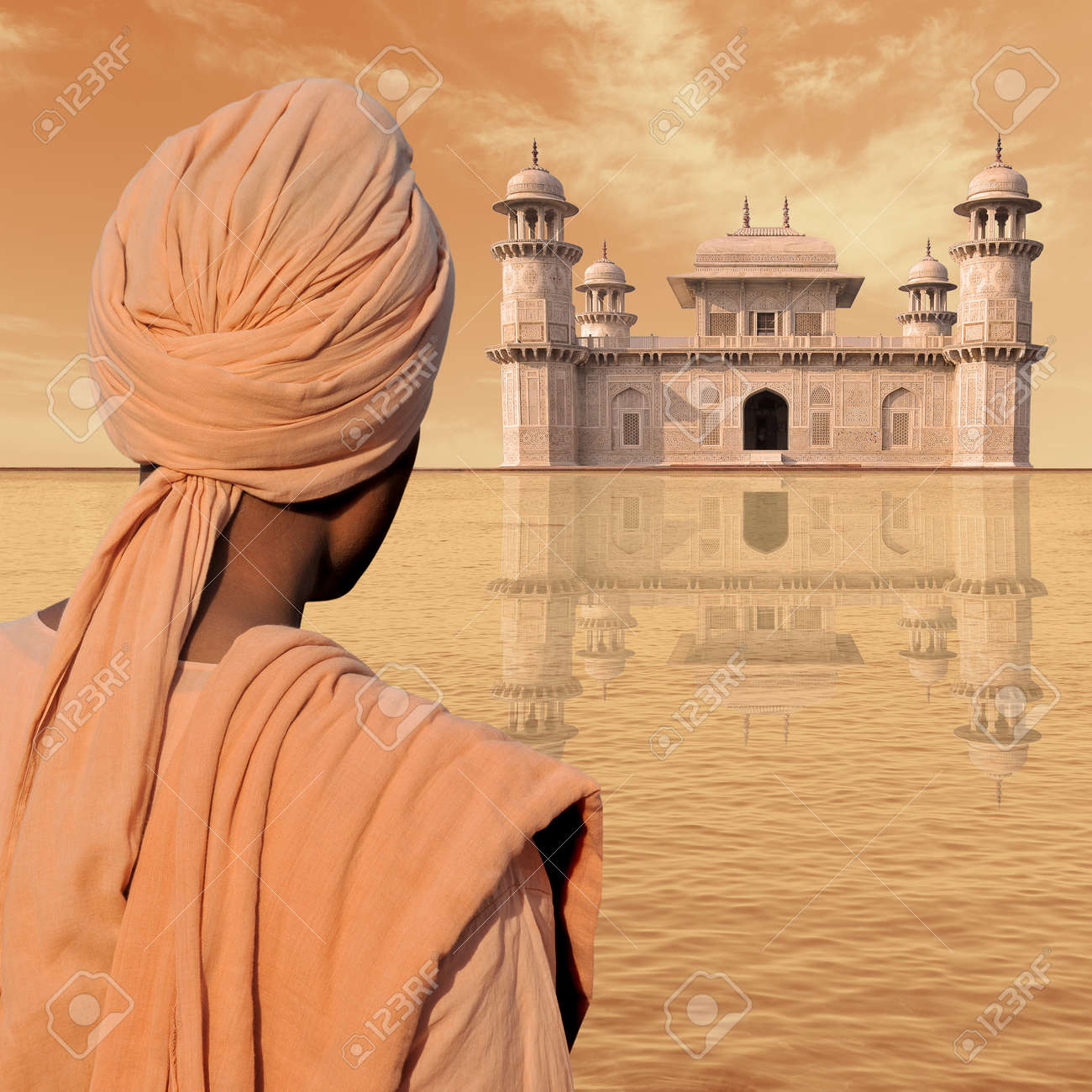 Man with turban near a palace in India. Stock Photo - 10685905