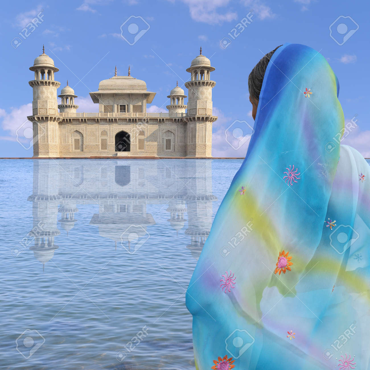Woman with sari near a palace in India. Stock Photo - 10685904