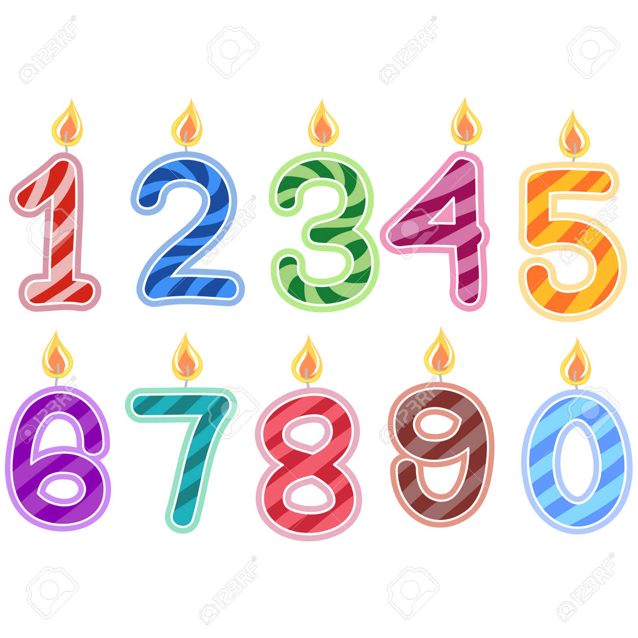 Vector Illustration Of Birthday Candles Numbers Royalty Free