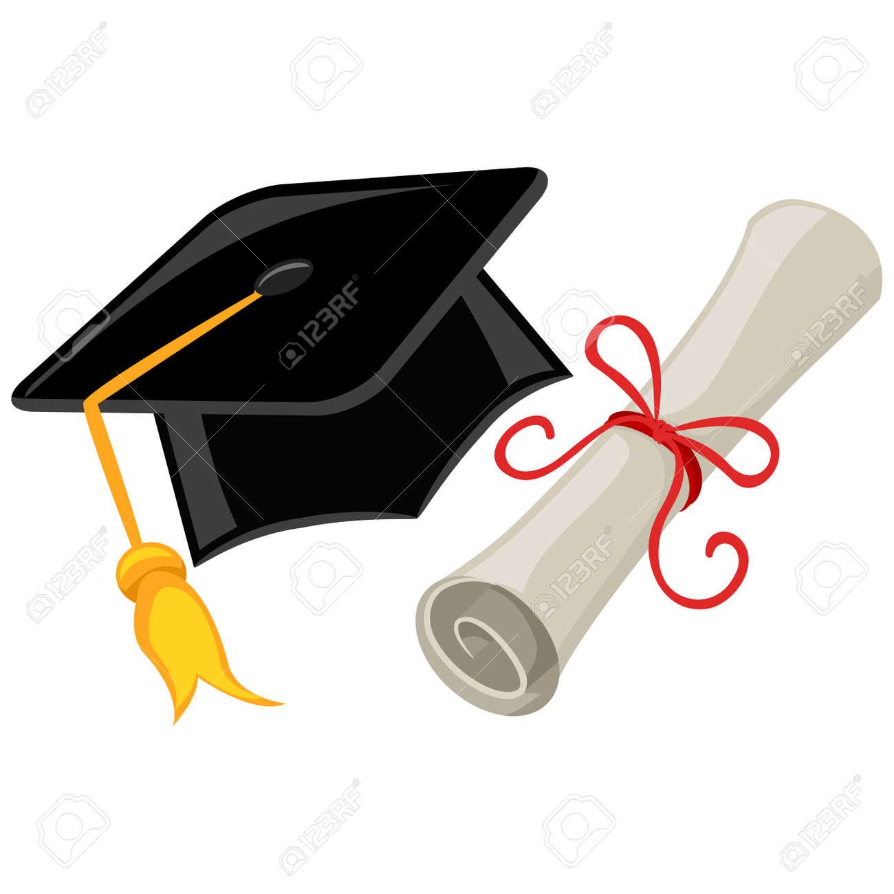 Ilustración Del Vector De La Graduación Gorra Birrete Y Diploma