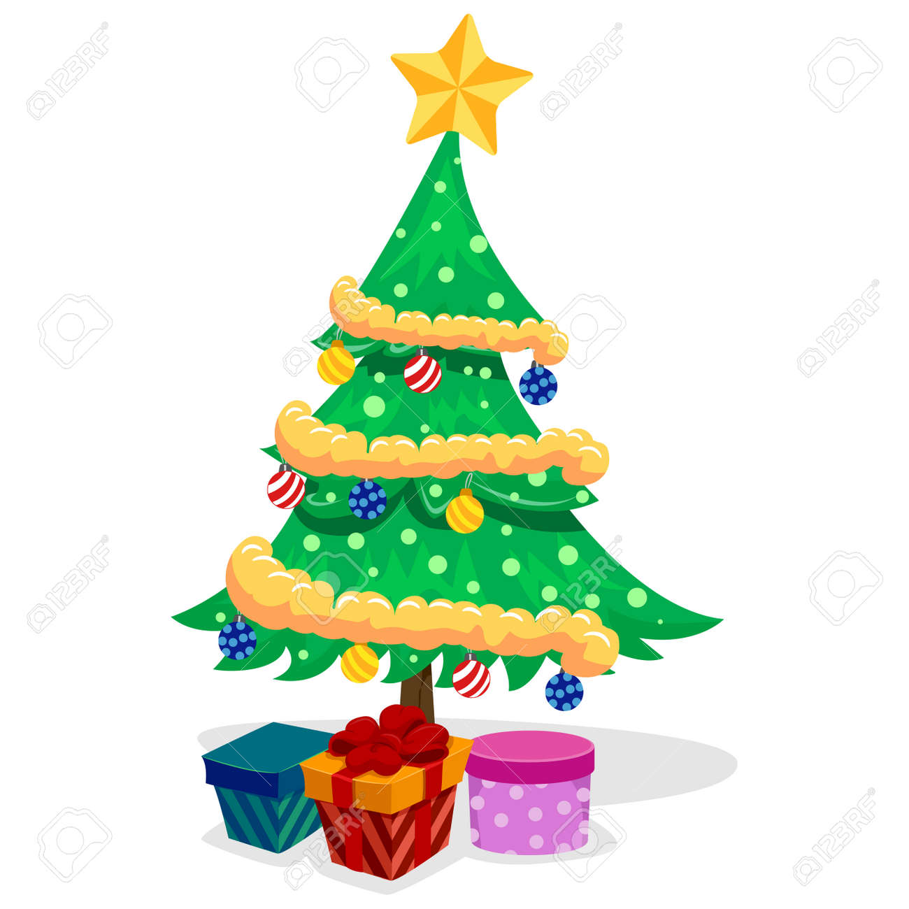 Vector Illustration Of Christmas Tree With Presents Royalty Free