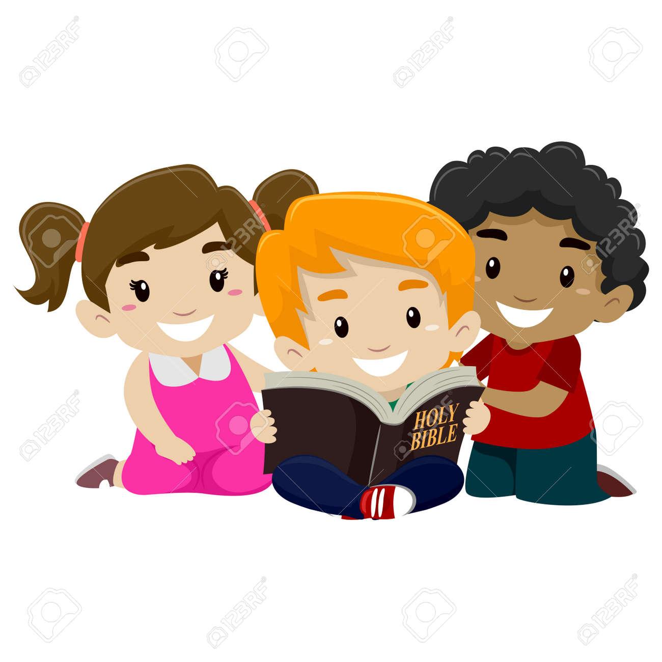 Ilustración Vectorial De Los Niños Lectura De La Biblia