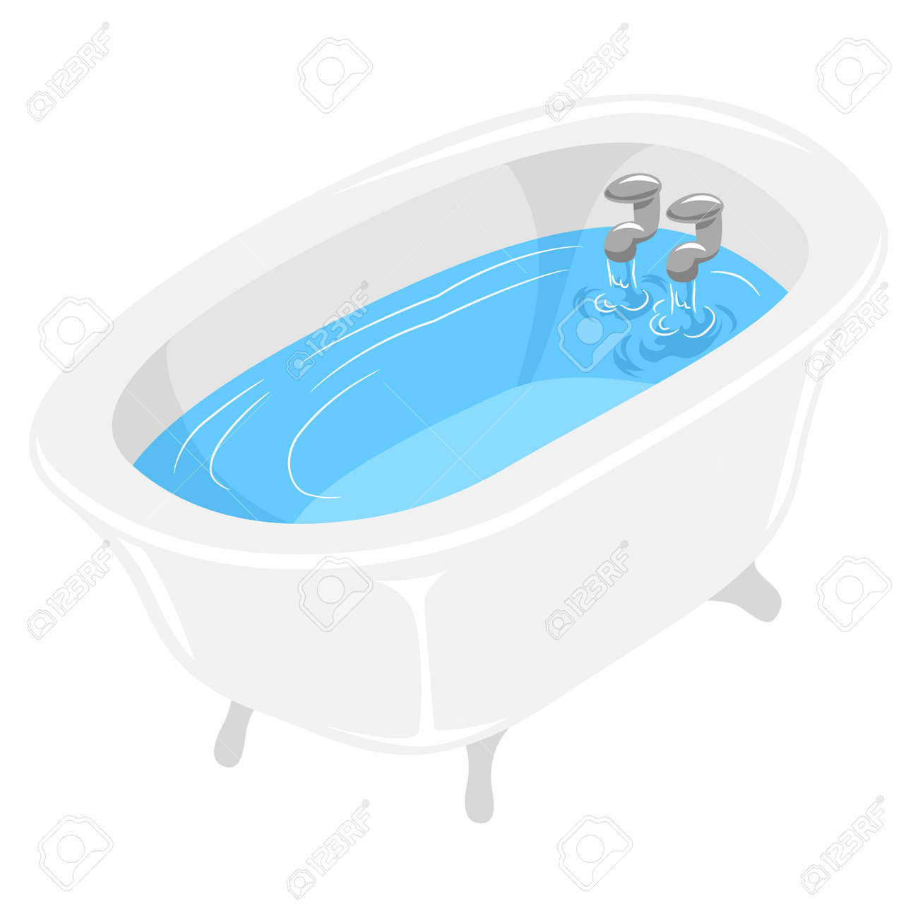 Vector Illustration Of Bath Tub Filled With Water Royalty Free ...