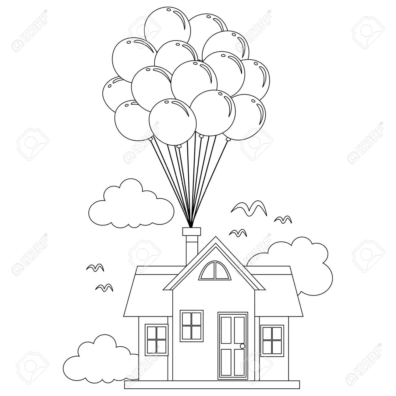 Coloring Book Outlined House With Balloon Royalty Free Cliparts