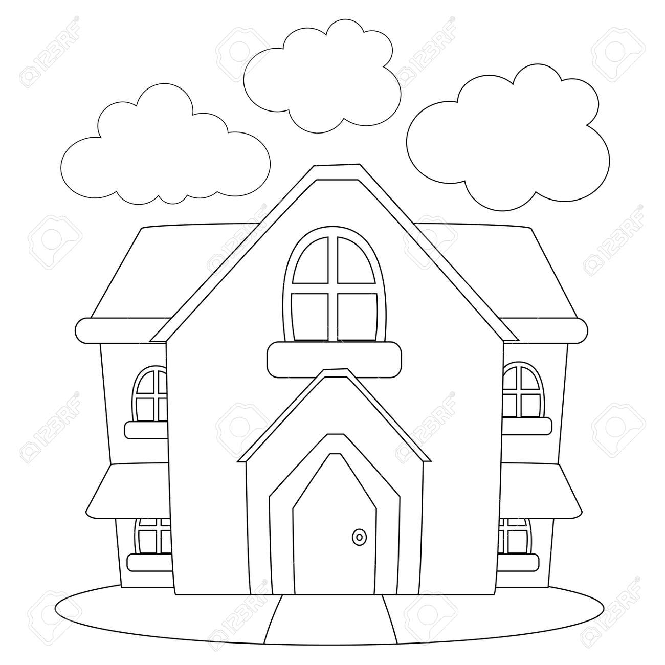Coloring Book Outlined House Royalty Free Cliparts, Vectors, And ...
