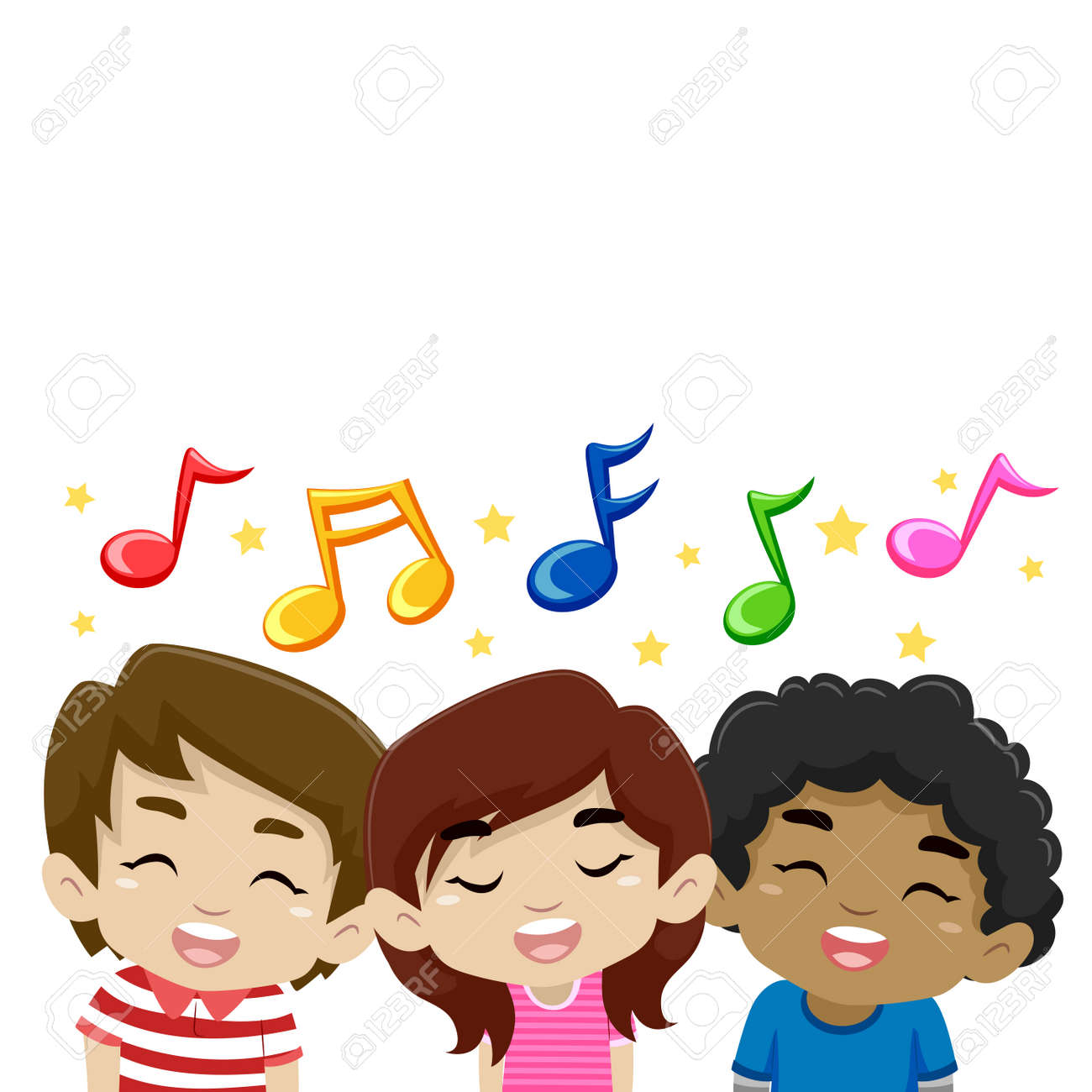 Vector Illustration of Kids Singing with Music Notes - 55828954