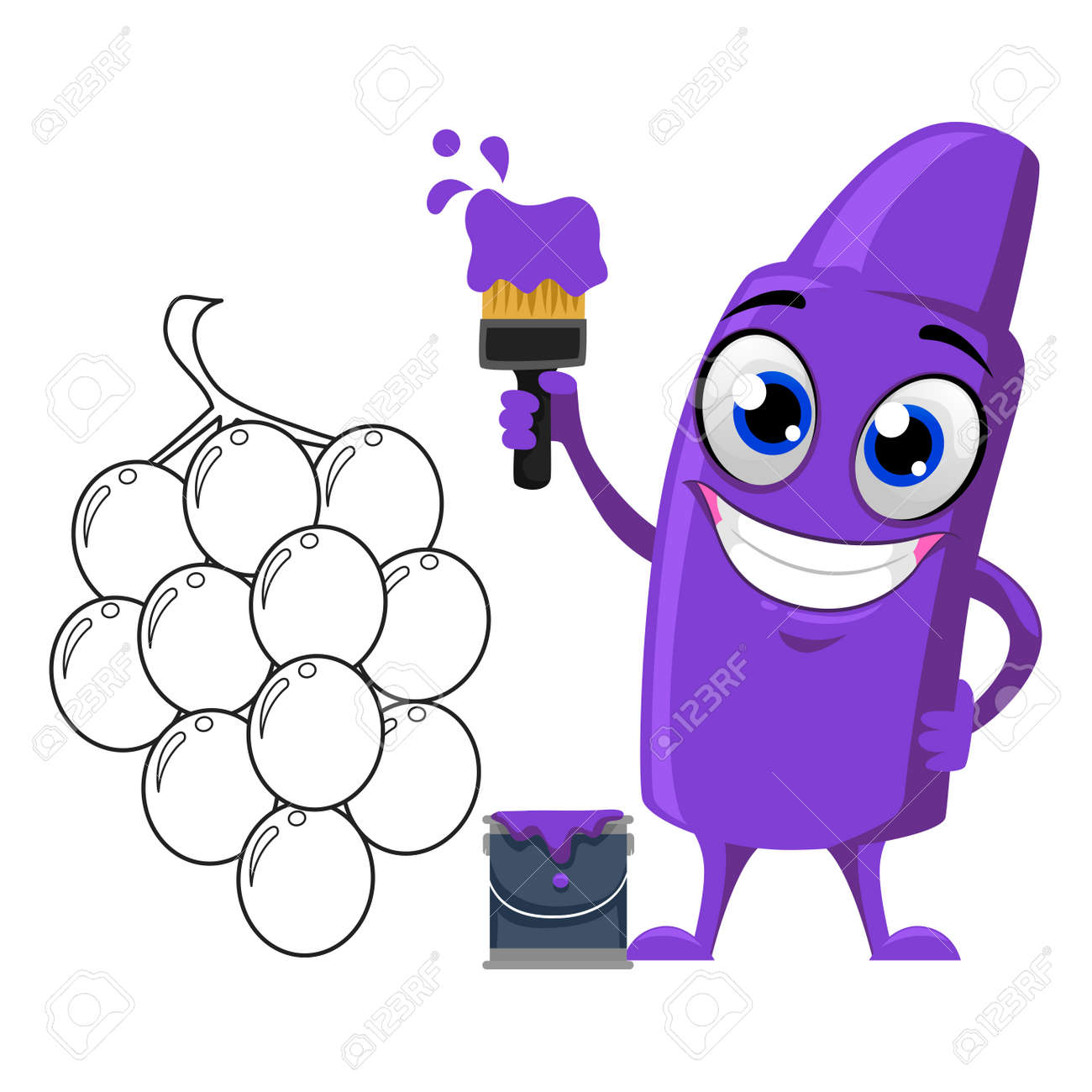 Vector Illustration Of Violet Crayon Mascot Coloring Grapes Royalty ... for clipart violet crayon  157uhy