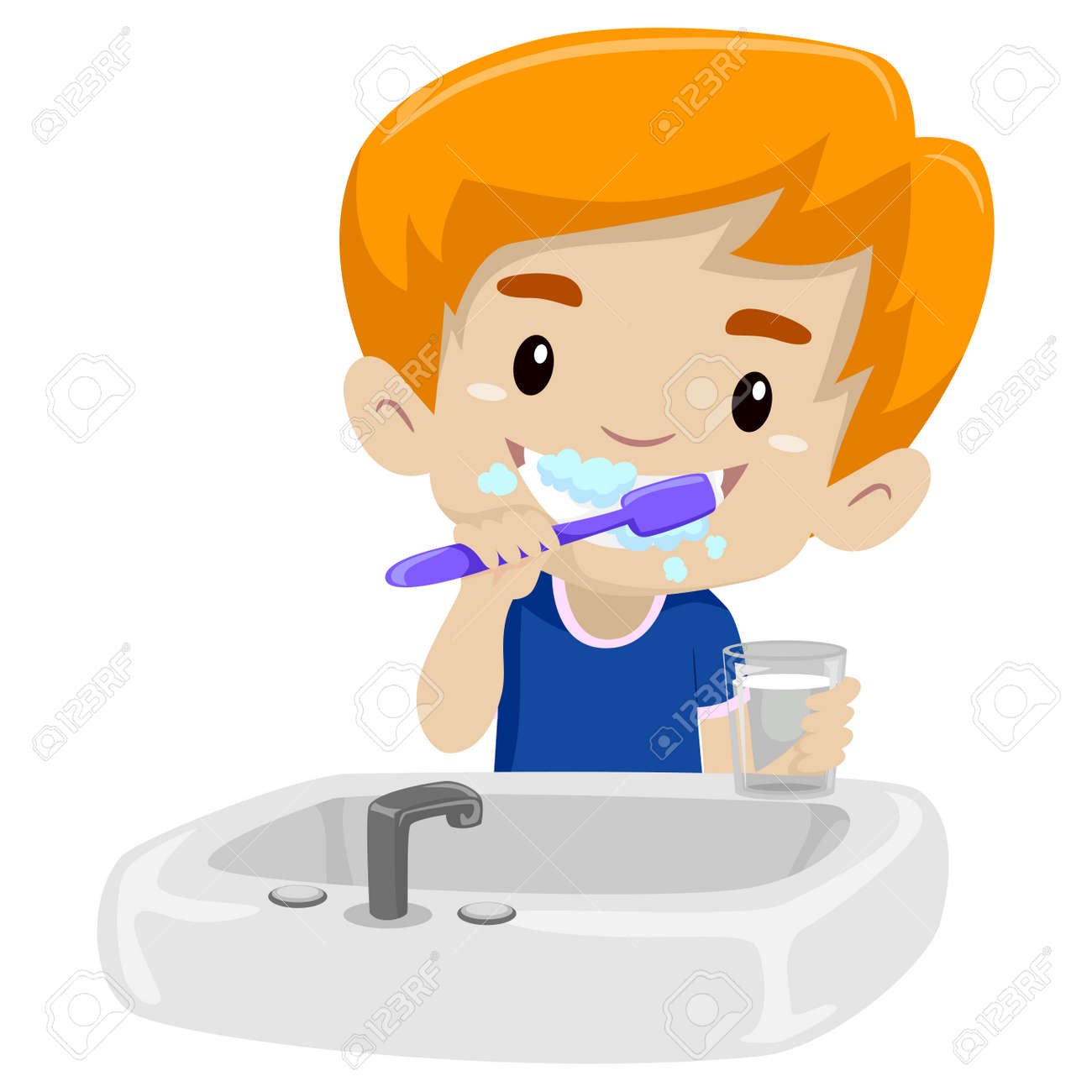 vector illustration of kid boy brushing her teeth royalty free