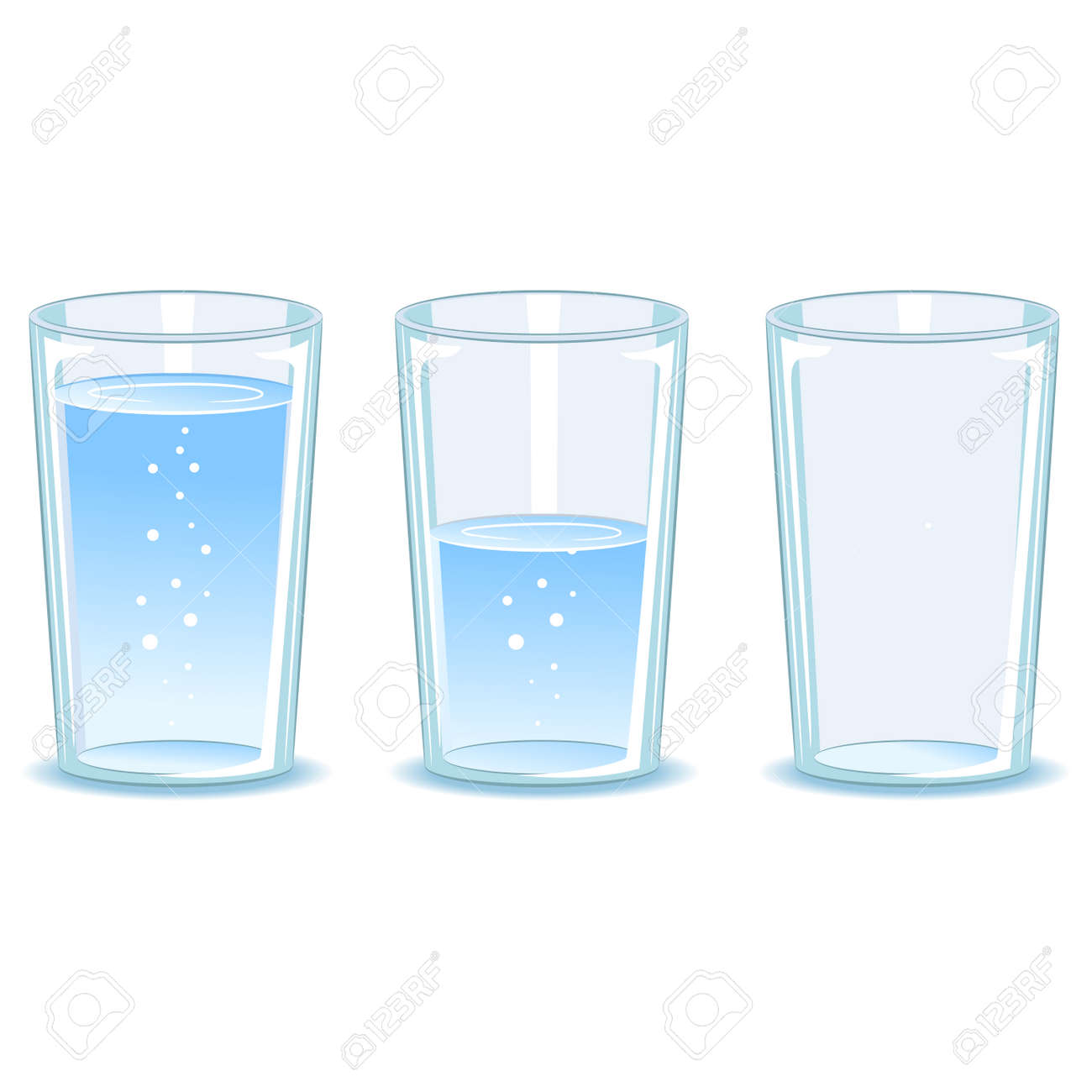 Vector Illustration of Set Glass of water - 58456684